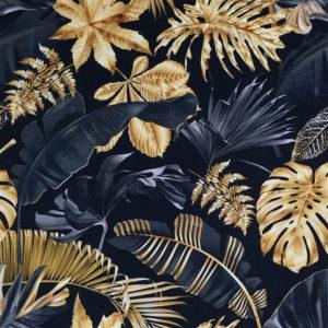 Černé a zlaté listy látka