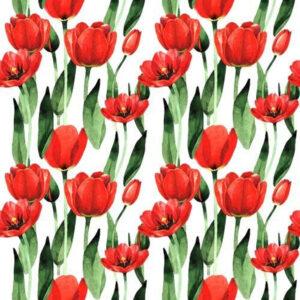 Tulipány na bílé látka