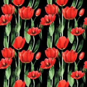 Tulipány na černé látka