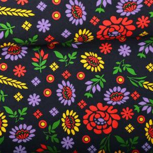 Šarišský kroj barevný černý látka