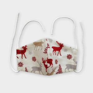 Rouška - Vánoční jeleni krémová